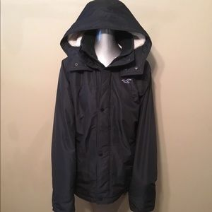 Hollister All Weather black fleece hoodie jackets